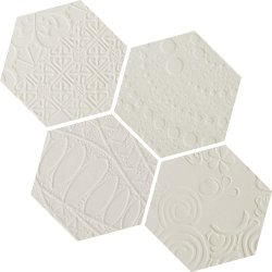 Durastone 3D Relief Hexagon 150x130 Mosaic Crema Luna Mixed Pattern