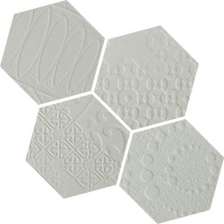 Durastone 3D Relief Hexagon 150x130 Mosaic Ash Grey Mixed Pattern