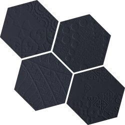 Durastone 3D Relief Hexagon 150x130 Mosaic Charcoal Mixed Pattern