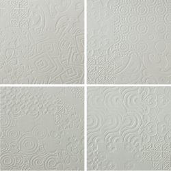 Durastone 3D Relief Tile Ash Grey Classico 300x300 (4 tiles illustrating varied pattern)