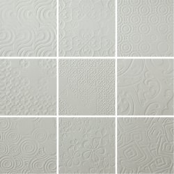 Durastone 3D Relief Tile Ash Grey Classico 200x200 (9 tiles illustrating varied pattern)