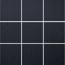 Durastone 3D Relief Tile Charcoal Classico 200x200 (9 tiles illustrating varied pattern)