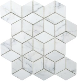 Diamond Cube Natural Stone Marble Calacatta 258x298 Sheet Polished Mosaic
