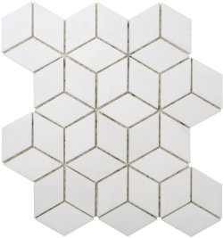 Diamond Cube Natural Stone Marble Dolomite White 258x298 Sheet Polished Mosaic