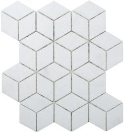 Diamond Cube Natural Stone Marble Pearl White 258x298 Sheet Polished Mosaic