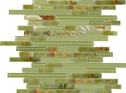 Glasstone Green Onyx Mini Brick mosaics