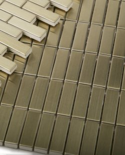 Metal Brass Stack mosaic Brushed