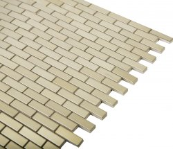 Metal Brass Stagger Mosaic Brushed