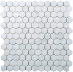 Hexagon Natural Stone Marble Pearl White 25x29 Polished Mosaic