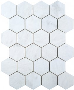 Hexagon Natural Stone Marble Pearl White 62x72 Honed Mosaic