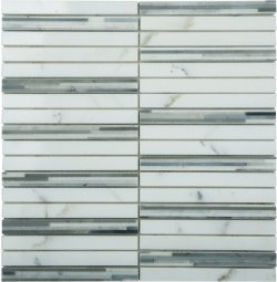 Marble Mosaic Multi Grey Bamboo 15x150