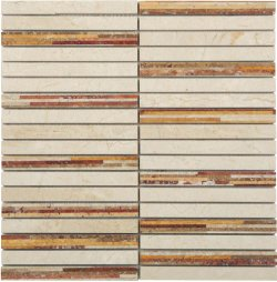 Marble Mosaic Multi Travertine Bamboo 15x150
