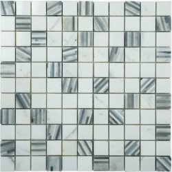 Marble Mosaic Multi Grey Bamboo 25x25